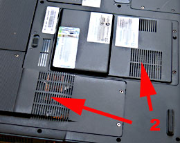 Bottom view of an Acer laptop showing the cooling system intake